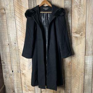 Vintage Wool Coat XL Fur Trimmed Hood Black